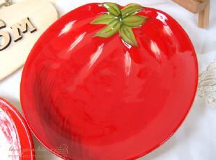 美丽说推荐 trimar 番茄 手绘 盘子 陶瓷餐盘/小菜盘/点心盘,盘碟,