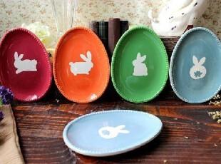 宜家风外贸陶瓷餐具手绘淡雅可爱兔兔宝贝蛋餐盘\零食盘 多色可选,盘碟,