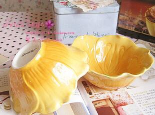外贸彩绘陶瓷蛋糕布丁雪糕冰淇淋杯儿童饭碗装饰盘可爱黄色花瓣碗,盘碟,
