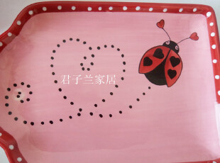 外贸陶瓷 欧美原单 mesa home个性温馨超可爱爱心盘 粉红甲壳虫,盘碟,