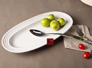 鱼盘 超大 外贸 盘子 陶瓷餐具 欧式 14寸 骨瓷 英国皇家WD 纯白,盘碟,