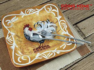 大公鸡手绘方盘 盘子 外贸 餐具 陶瓷 果盘 瑕疵特惠,盘碟,