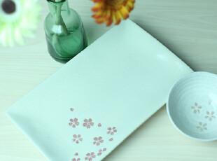 石庐生活 樱花长型水果盘 寿司盘 小清新风格陶瓷盘子 新品特价,盘碟,