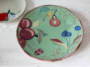 水生之城 外贸出口原单尾单 鲜果季绿色田园风手绘陶瓷平盘浅盘,盘碟,