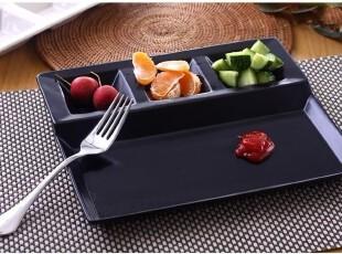 陶瓷餐具 外贸原单瓷器Luzerne 黑色四格自助餐盘 酱碟 凉菜餐盘,盘碟,