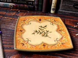 【A grass】外贸陶瓷出口陶瓷手绘富丽皇家风格餐盘\装饰盘!,盘碟,