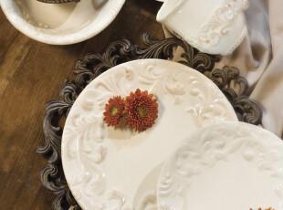 GG美法式浪漫希腊外贸西餐蛋糕点心盘象牙白浮雕作旧复古花边圆碟,盘碟,