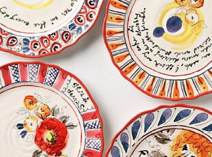 【纽约下城公园】玫瑰与十四行诗陶瓷餐盘,盘碟,