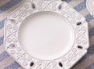 绘生活 陶瓷盘子餐具 浪漫古典浮雕纹理 沙拉盘 巴洛克风情1542,盘碟,