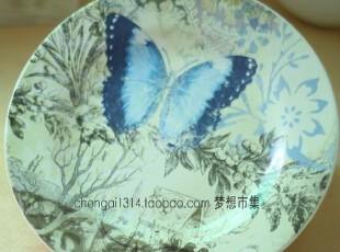 C07绝美 复古手绘盘子装饰盘子外贸陶瓷 古典餐具餐盘家居装饰品,盘碟,