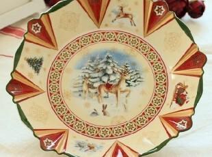 外贸陶瓷德国唯宝品牌villeroy&boch圣诞可爱麋鹿温馨零食盘饭盘,盘碟,