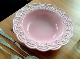 外贸出口陶瓷餐具粉红浮雕复古做旧汤盘子 瑕疵特价 有细纹,盘碟,