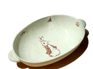 景德镇陶瓷  陶瓷盘 两耳盘汤盘 碗盘双耳汤钵 兔先生,盘碟,