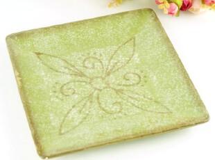 外贸手绘陶瓷 托斯卡纳古典花纹 方盘 果盘 菜盘 绿色,盘碟,