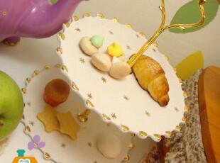 盘子 陶瓷 星星刻花英式下午茶 双层点心盘/水果盘/西餐盘,盘碟,