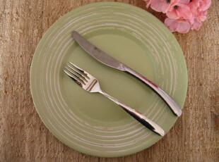 最新*温柔粉绿色 出口陶瓷盘 西餐盘子  3件套之大盘 哑光感,盘碟,
