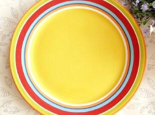 时尚糖果色小清新 可爱大盘子外贸创意陶瓷西餐盘 外贸原单圆盘,盘碟,