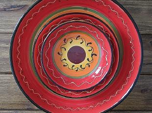 欧单 立体手绘陶瓷盘子餐盘菜盘图腾花朵复古风格,盘碟,