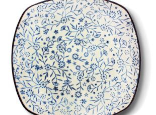 小北家CH83 陶瓷 青花红花 四方盘子 菜盘大盘 釉下彩瓷器餐具,盘碟,