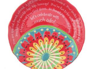 外贸出口 余单陶瓷餐具 无限色彩英文 12寸大盘子/装饰盘,盘碟,