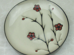 外贸 手绘 陶瓷盘子 彩绘 鱼盘 点心盘 西餐盘 牛排盘 果盘 28CM,盘碟,