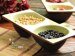 日式风格 陶瓷(两连碗)双连碗 绿色冰裂釉,盘碟,