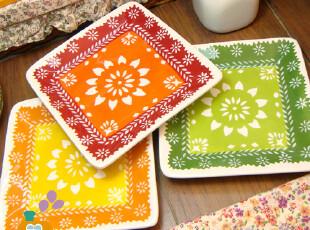 盘子 陶瓷 方形盘 手绘镂空花色陶瓷盘/菜盘/蛋糕盘/点心盘(3色,盘碟,