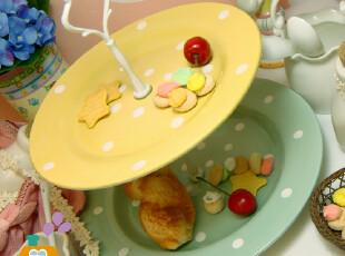 盘子/双层盘 外贸陶瓷 水玉点点 复古 下午茶点心盘/水果盘,盘碟,