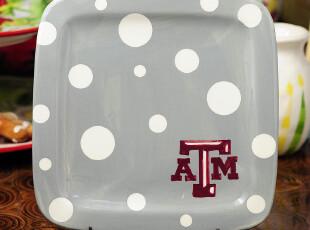 【盘子】陶缘牧歌手绘 灰底圆点方盘 餐具家居用品,盘碟,