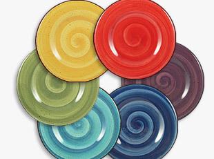 五彩缤纷盘 盘子 厨房 陶瓷 餐具 6色,盘碟,
