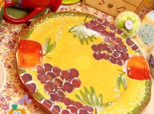 盘子 陶瓷 外贸原单欧式田园风手绘陶瓷餐盘/西餐盘/鱼盘/水果盘,盘碟,