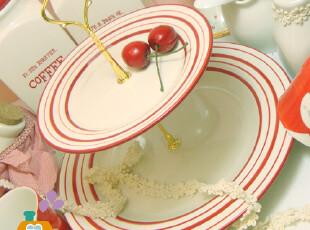 出口欧美 盘子/双层盘 外贸陶瓷条纹边圈点心盘/水果盘,盘碟,