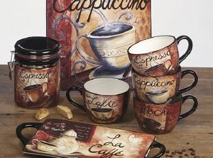 certifiedinternational  咖啡系列 外贸陶瓷餐具套装 双耳长托盘,盘碟,