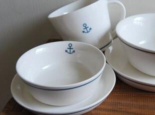 【山鱼良品】小海锚系列 陶瓷大马口杯/餐盘/碗/勺 出口日单 特,盘碟,