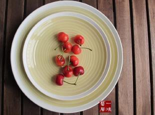 一鸿艺居 外贸陶瓷餐具美国名品SANGO 冰淇淋黄圆餐盘 果盘,盘碟,