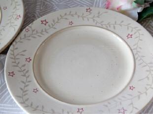 水生之城 外贸出口原单尾单 乡村风彩绘草叶米黄陶瓷盘平盘,盘碟,