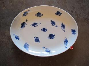 外贸陶瓷餐具新骨瓷 鱼趣手绘餐盆 鱼盆 沙拉盆 水果盆,盘碟,