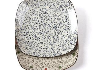 创意陶瓷盘子  日式外贸原单 山田烧红花/兰花9寸盘 菜盘 水果盘,盘碟,