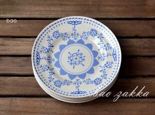 BAO ZAKKA 杂货 蓝色的花 圆碟 陶瓷盘 蓝色礼盒5个17.5CM碟,盘碟,