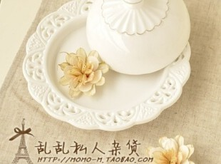 出口zakka 素雅白瓷镂空花饼干盘子 碟子 点心盘 食品拍摄道具,盘碟,