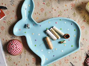 可爱水玉 陶瓷 小兔盘 盘子 装饰盘 零食盘 微瑕特惠,盘碟,