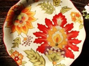 瑕疵特价/法式乡村陶瓷餐具/爱丽丝圆形波浪装饰盘/西餐盘/水果盘,盘碟,