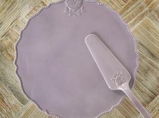 美克美家法式乡村浮雕高温陶瓷餐具/森女爱心高脚蛋糕托盘2色,盘碟,