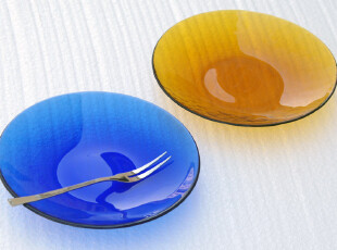 WUSE 周年特价 冰花纹 手工制作玻璃盘 餐盘 零食碟  18CM,盘碟,
