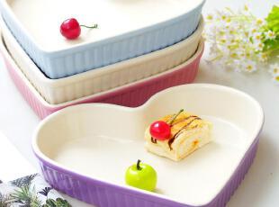 外贸余单 陶瓷烘焙模具 萌系糖果色大号心形 披萨盘 烤盘 点心盘,盘碟,