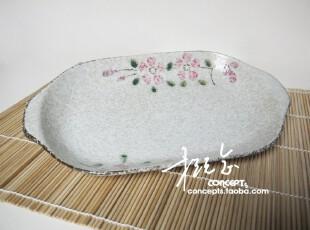 促 概念岸本烧日式餐具 手绘樱花陶瓷带耳椭圆盘 鱼盘 长盘 菜盘,盘碟,