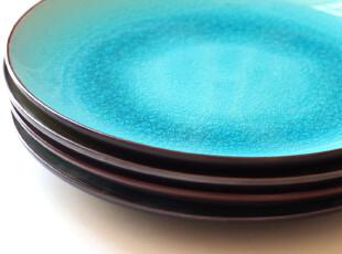 德国设计.圆形纯平冰裂釉陶瓷餐盘子/西餐盘/菜盘.可选色,盘碟,