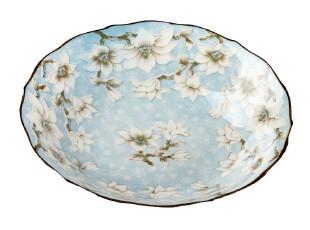 特价疯抢日本伊陶 木莲青 釉下彩8寸 深汤盘 菜盘 陶瓷餐具套装,盘碟,