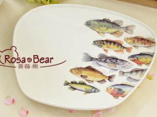 单件特惠 choice超美!鲈鱼印花平餐盘(大) 家居陶瓷 西餐餐具,盘碟,