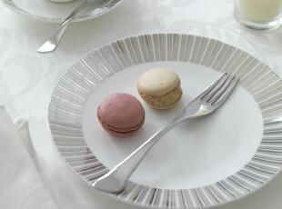 外贸原单 英国品牌 不规则银边骨瓷西餐盘 8寸浅盘,盘碟,